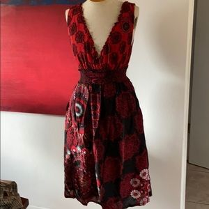 Beautiful woman Paisley style black and red dress